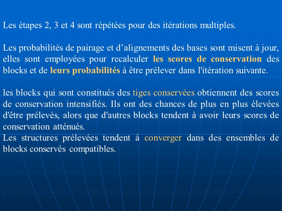 Calculer la fréquence dalignement des bases dans S(structure commune) entre deux séquences, qui nous donne une nouvelle probabilité dalignement :