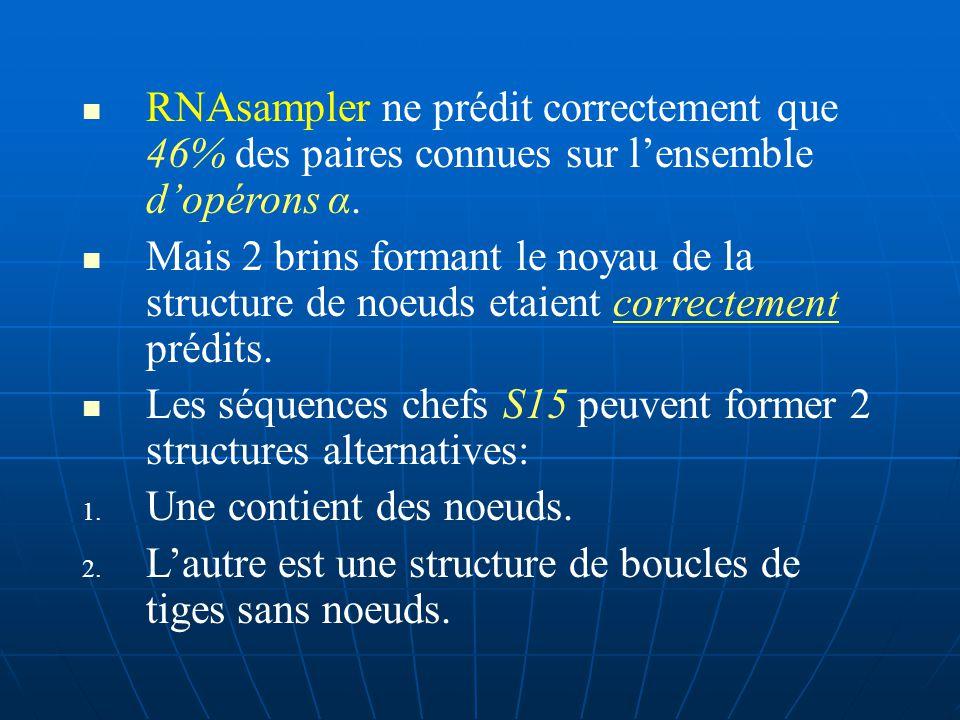 3.3 Prédiction des structures de Noeuds RNA sampler peut prédire les structures à noeuds, si lutilisateur autorise la formation de croisements de blocks de brins.