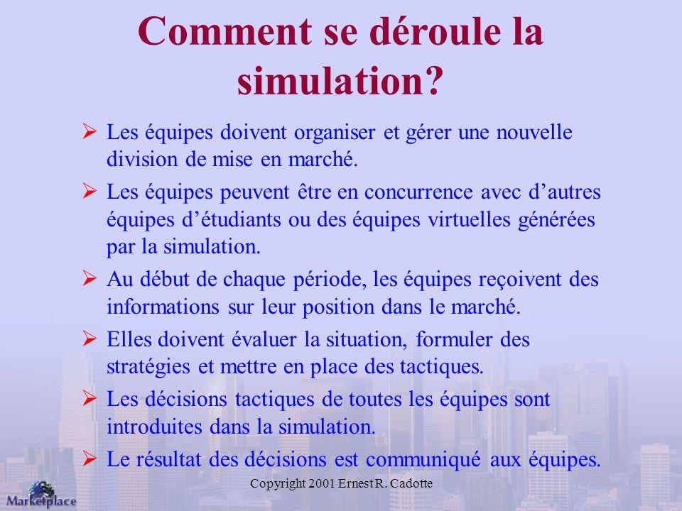Copyright 2001 Ernest R.Cadotte Comment se déroule la simulation.