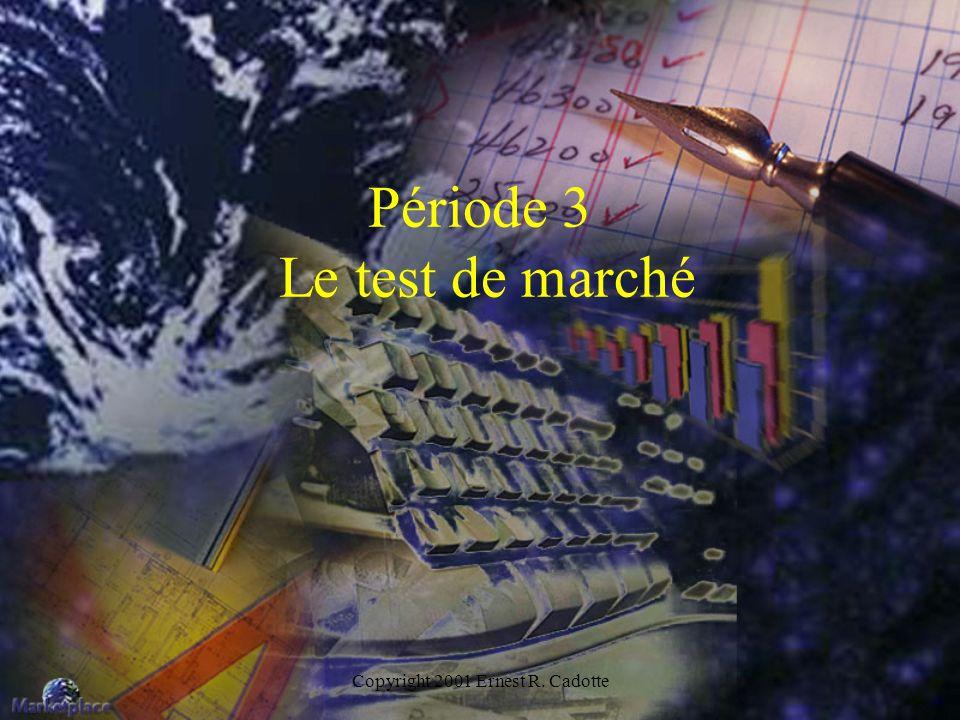 Copyright 2001 Ernest R. Cadotte Période 3 Le test de marché