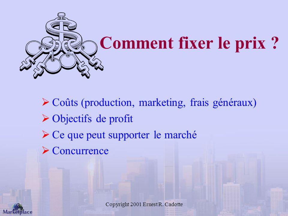 Copyright 2001 Ernest R.Cadotte Comment fixer le prix .