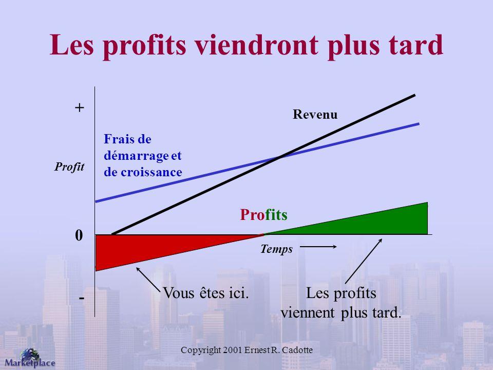Copyright 2001 Ernest R.Cadotte Les profits viendront plus tard Les profits viennent plus tard.