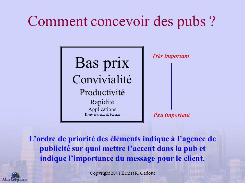 Copyright 2001 Ernest R.Cadotte Comment concevoir des pubs .