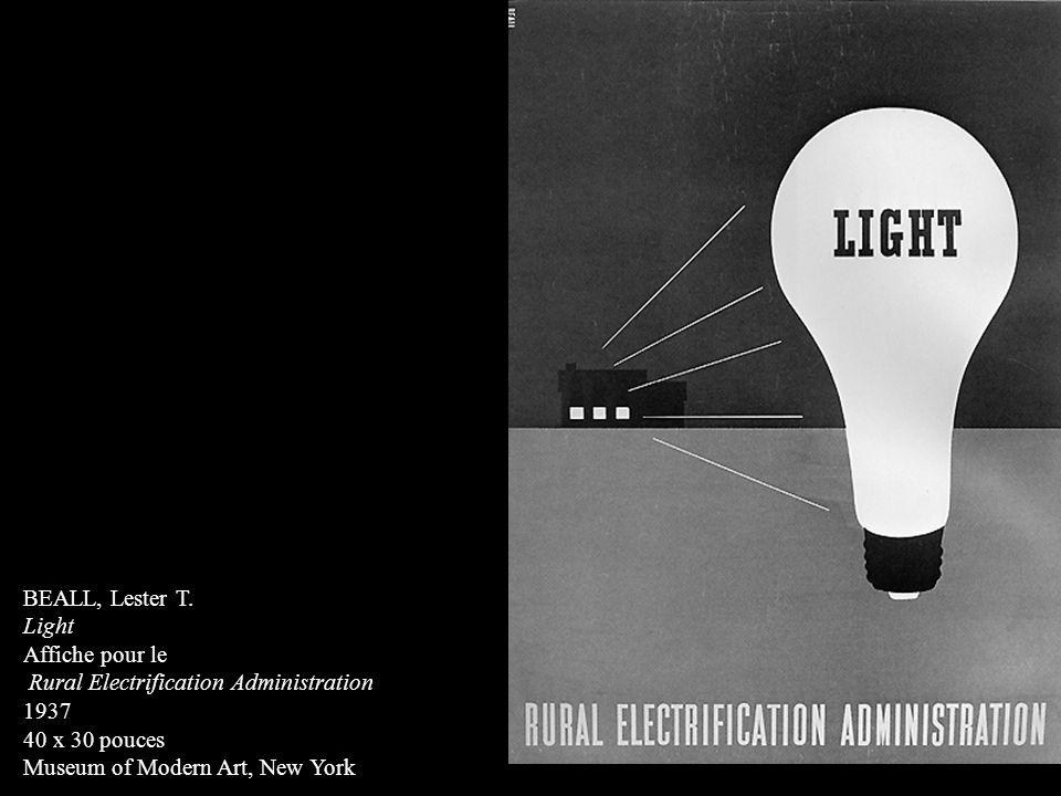 BEALL, Lester T. Light Affiche pour le Rural Electrification Administration 1937 40 x 30 pouces Museum of Modern Art, New York