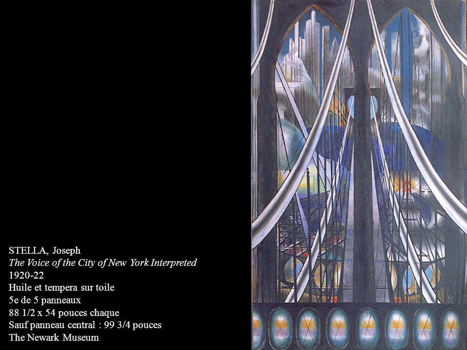 STELLA, Joseph The Voice of the City of New York Interpreted 1920-22 Huile et tempera sur toile 5e de 5 panneaux 88 1/2 x 54 pouces chaque Sauf pannea