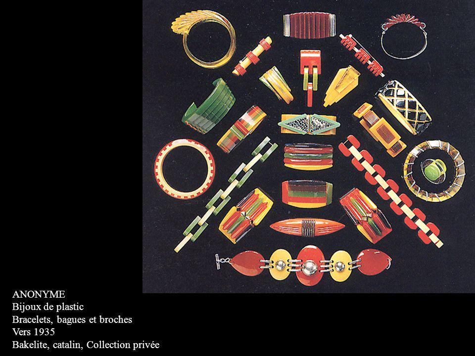 ANONYME Bijoux de plastic Bracelets, bagues et broches Vers 1935 Bakelite, catalin, Collection privée