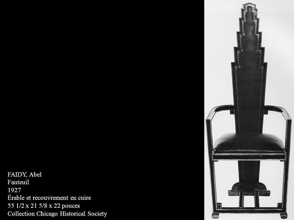 FAIDY, Abel Fauteuil 1927 Érable et recouvrement en cuire 55 1/2 x 21 5/8 x 22 pouces Collection Chicago Historical Society