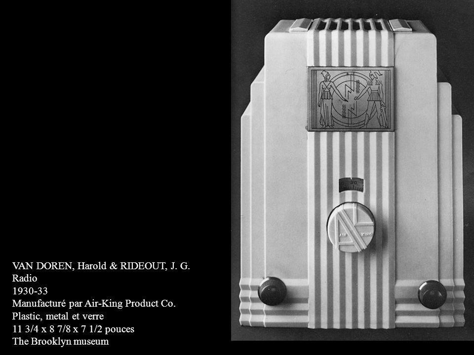 VAN DOREN, Harold & RIDEOUT, J. G. Radio 1930-33 Manufacturé par Air-King Product Co. Plastic, metal et verre 11 3/4 x 8 7/8 x 7 1/2 pouces The Brookl