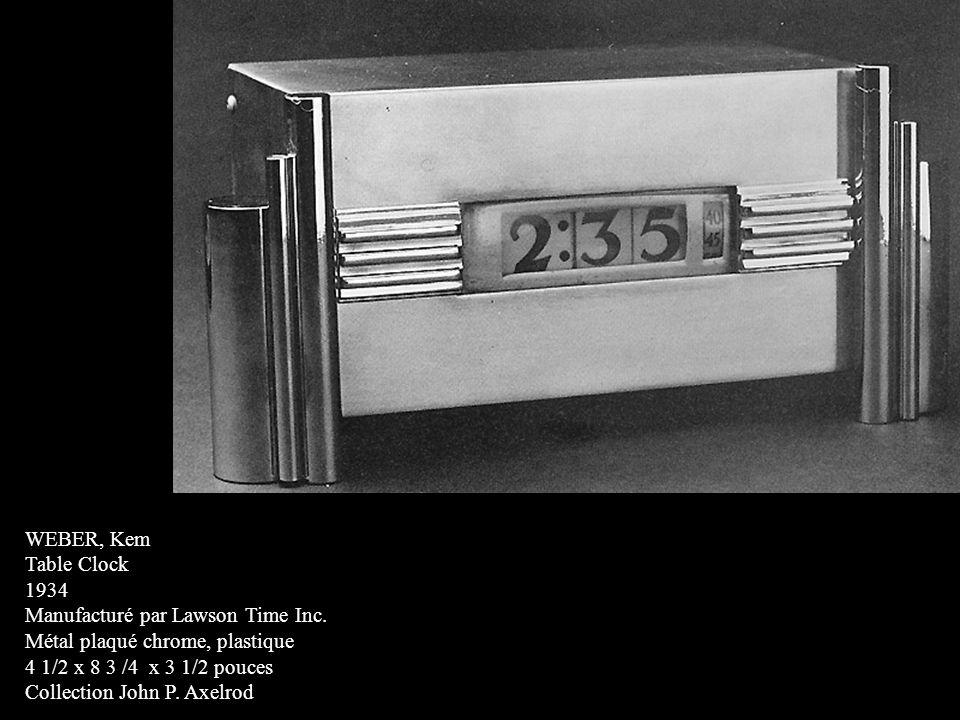 WEBER, Kem Table Clock 1934 Manufacturé par Lawson Time Inc. Métal plaqué chrome, plastique 4 1/2 x 8 3 /4 x 3 1/2 pouces Collection John P. Axelrod