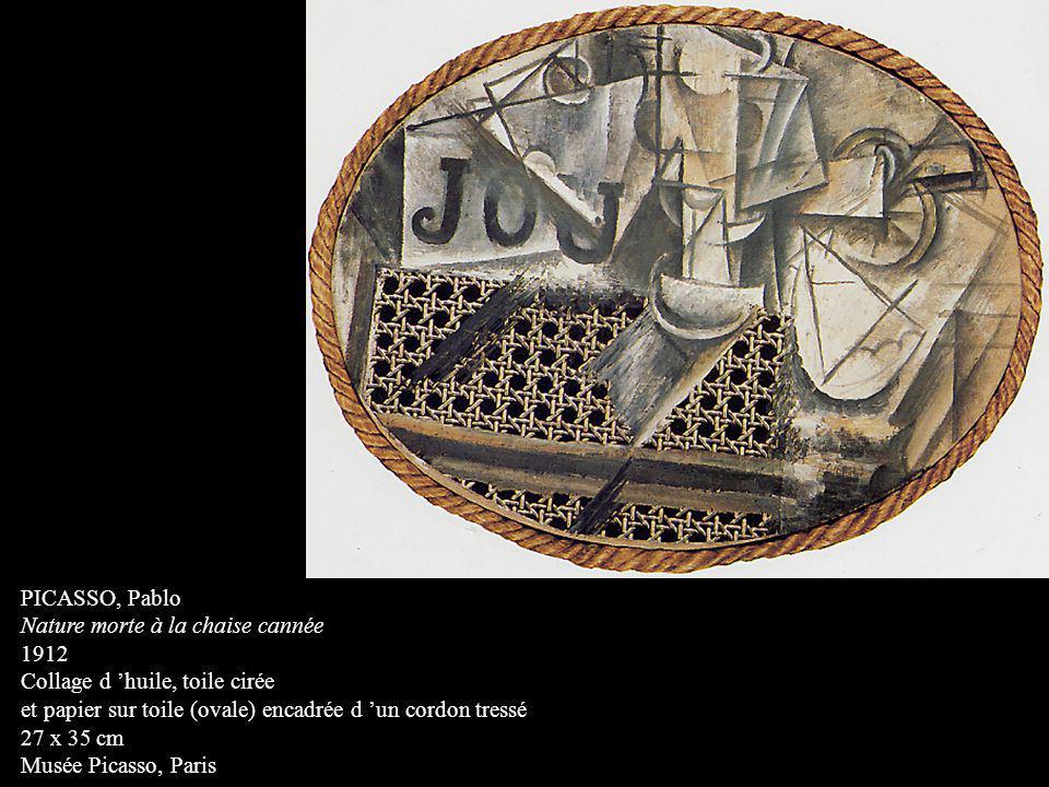 PICASSO, Pablo Nature morte à la chaise cannée 1912 Collage d huile, toile cirée et papier sur toile (ovale) encadrée d un cordon tressé 27 x 35 cm Mu