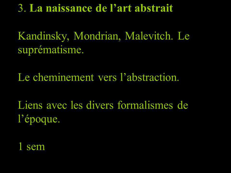 3. La naissance de lart abstrait Kandinsky, Mondrian, Malevitch. Le suprématisme. Le cheminement vers labstraction. Liens avec les divers formalismes