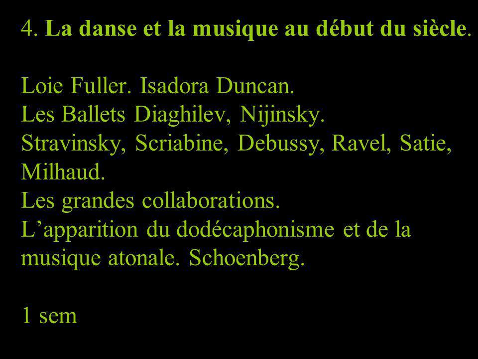 4. La danse et la musique au début du siècle. Loie Fuller. Isadora Duncan. Les Ballets Diaghilev, Nijinsky. Stravinsky, Scriabine, Debussy, Ravel, Sat