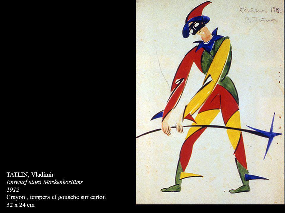 TATLIN, Vladimir Entwurf eines Maskenkostüms 1912 Crayon, tempera et gouache sur carton 32 x 24 cm