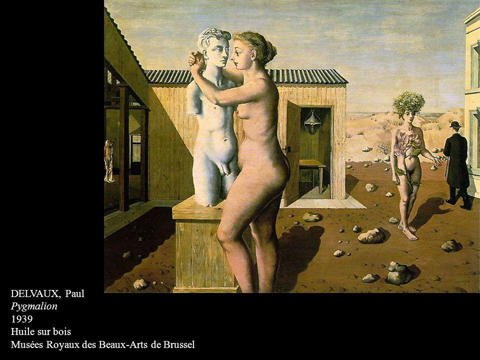 DELVAUX, Paul Pygmalion 1939 Huile sur bois Musées Royaux des Beaux-Arts de Brussel