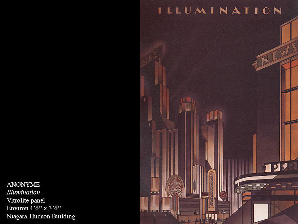 ANONYME Illumination Vitrolite panel Environ 46 x 36 Niagara Hudson Building