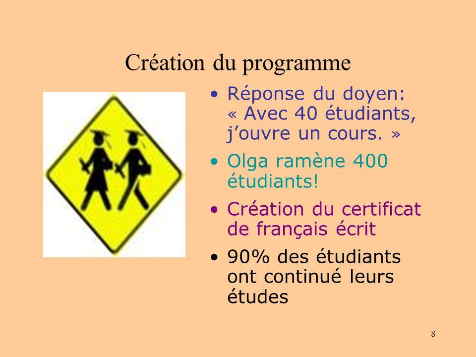 8 Création du programme Réponse du doyen: « Avec 40 étudiants, jouvre un cours.