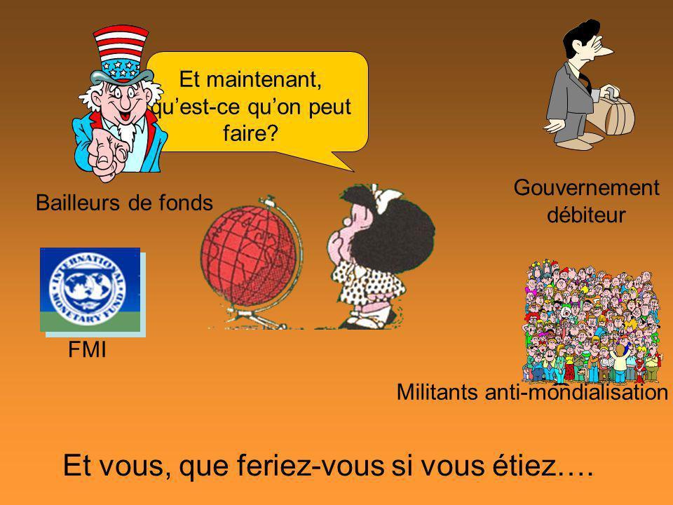 Et maintenant, quest-ce quon peut faire? Et vous, que feriez-vous si vous étiez…. Gouvernement débiteur Bailleurs de fonds FMI Militants anti-mondiali