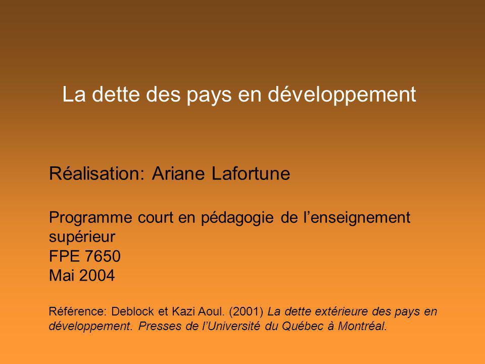 La dette des pays en développement Réalisation: Ariane Lafortune Programme court en pédagogie de lenseignement supérieur FPE 7650 Mai 2004 Référence: