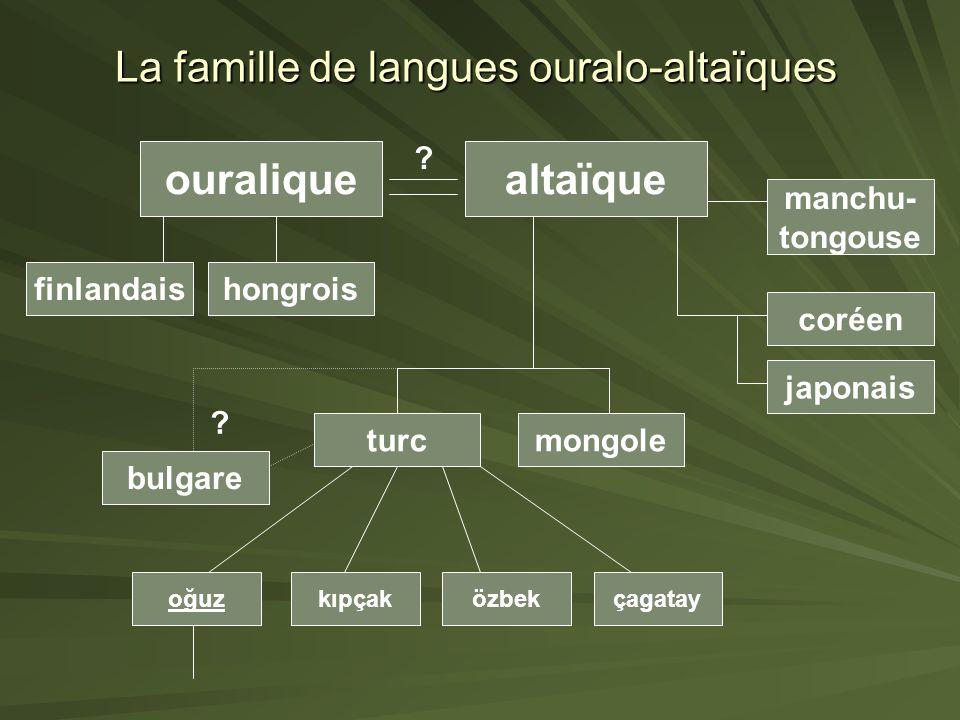 La famille de langues ouralo-altaïques ouraliquealtaïque ? turc kıpçakoğuzözbekçagatay bulgare mongole hongroisfinlandais manchu- tongouse coréen japo
