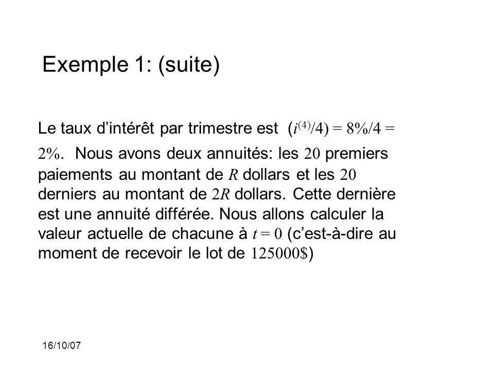 16/10/07 Exemple 1: (suite) Le taux dintérêt par trimestre est ( i (4) /4) = 8%/4 = 2%.