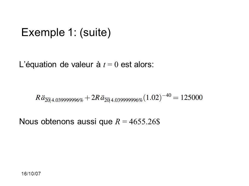 16/10/07 Exemple 1: (suite) Léquation de valeur à t = 0 est alors: Nous obtenons aussi que R = 4655.26$