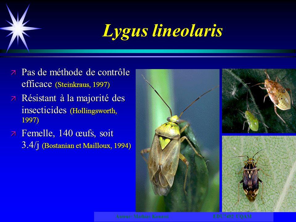 Auteur: Mathias Kouassi EDU7492 UQAM Lygus lineolaris ä Pas de méthode de contrôle efficace (Steinkraus, 1997) ä Résistant à la majorité des insectici