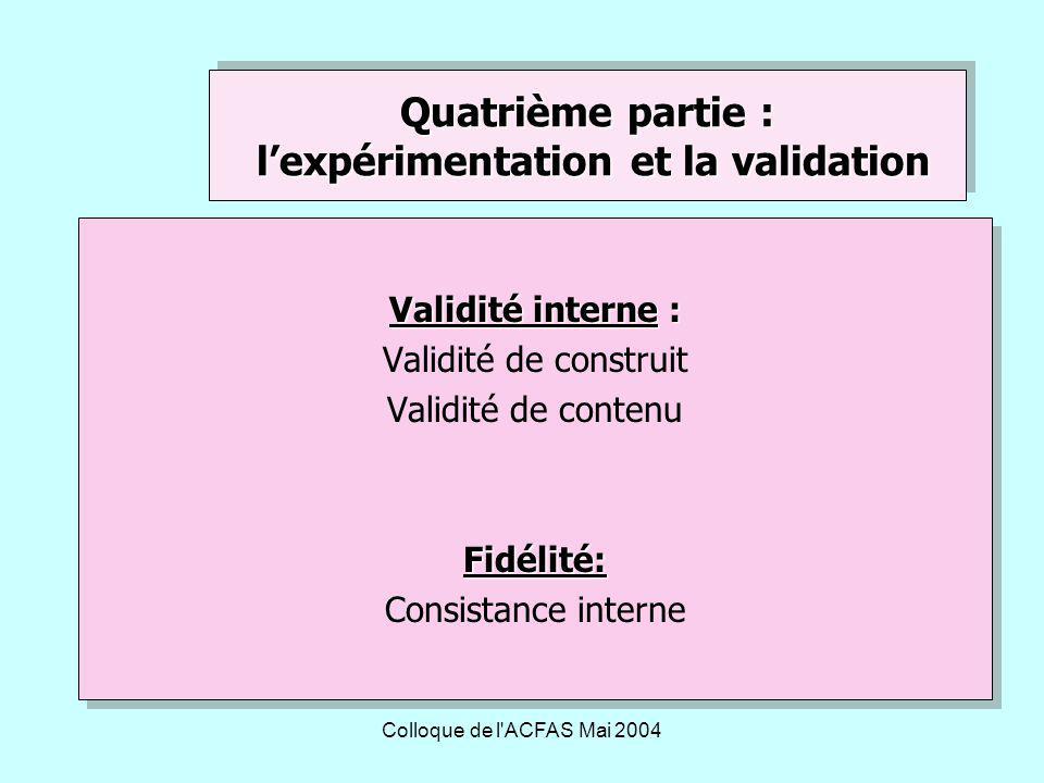 Colloque de l ACFAS Mai 2004 Validité interne : Validité de construit Validité de contenuFidélité: Consistance interne Validité interne : Validité de construit Validité de contenuFidélité: Consistance interne Quatrième partie : lexpérimentation et la validation