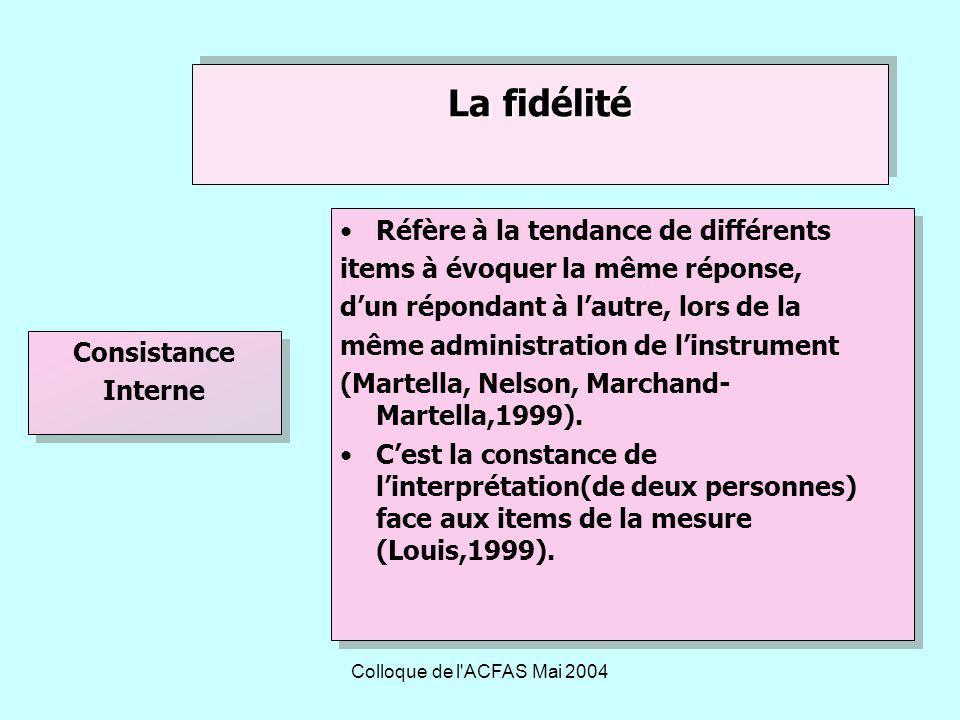 Colloque de l ACFAS Mai 2004 Réfère à la tendance de différents items à évoquer la même réponse, dun répondant à lautre, lors de la même administration de linstrument (Martella, Nelson, Marchand- Martella,1999).