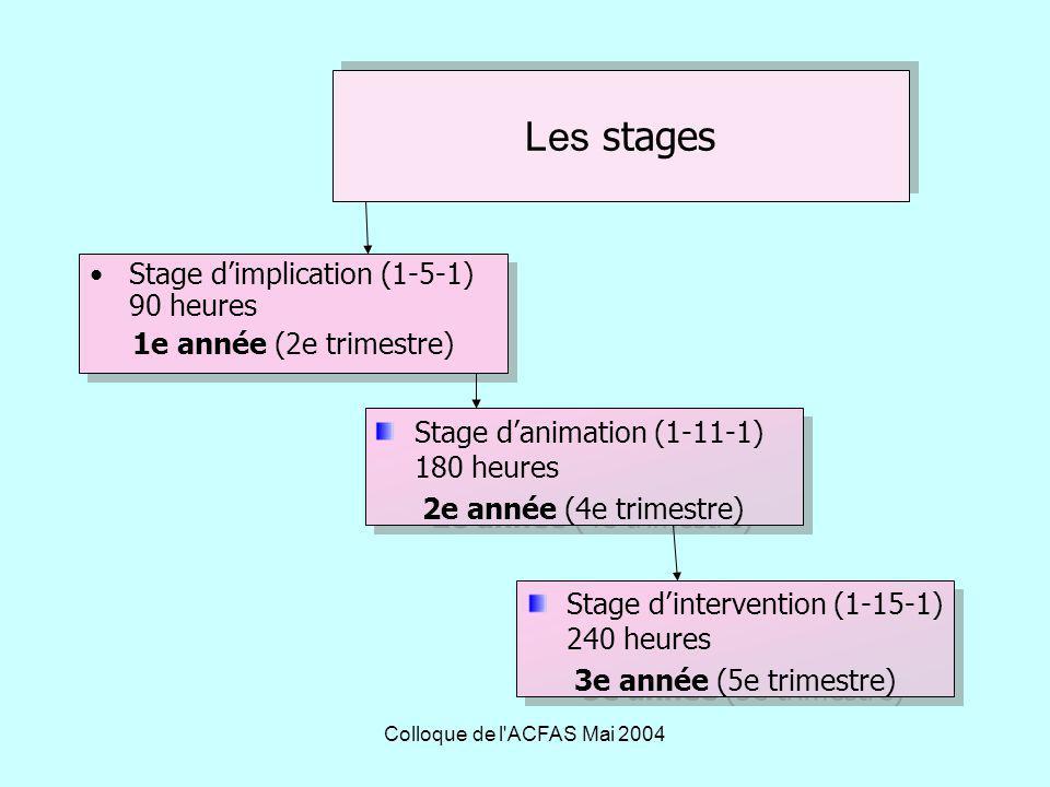 Colloque de l ACFAS Mai 2004 Les stages Stage dimplication (1-5-1) 90 heures 1e année (2e trimestre) Stage dimplication (1-5-1) 90 heures 1e année (2e trimestre) Stage danimation (1-11-1) 180 heures 2e année (4e trimestre) Stage danimation (1-11-1) 180 heures 2e année (4e trimestre) Stage dintervention (1-15-1) 240 heures 3e année (5e trimestre) Stage dintervention (1-15-1) 240 heures 3e année (5e trimestre)