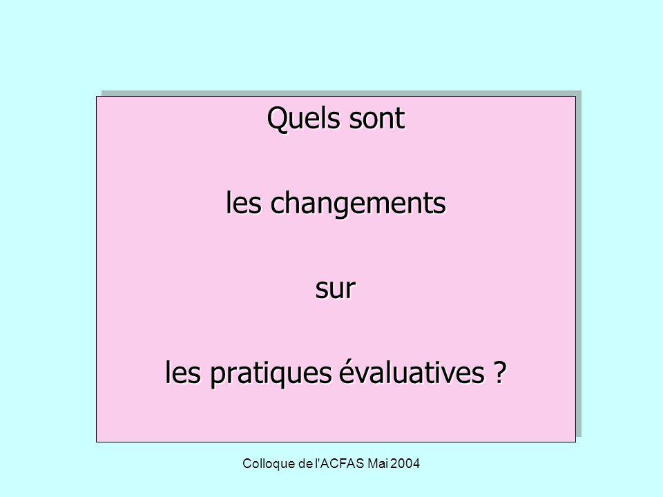 Colloque de l ACFAS Mai 2004 Échelle à énoncés descriptifs 4 niveaux