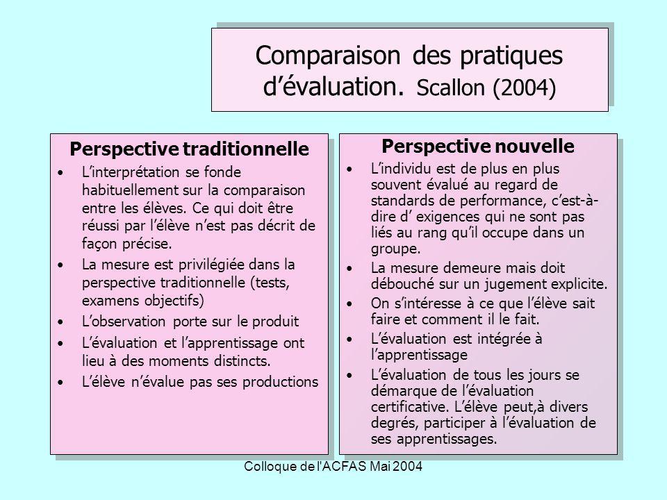 Colloque de l ACFAS Mai 2004 Comment adapter nos pratiques évaluatives dans une approche par compétences .