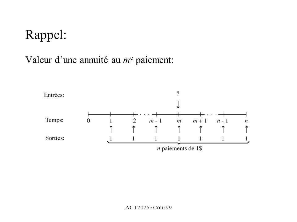 ACT2025 - Cours 9 Valeur dune annuité au m e paiement: Rappel: