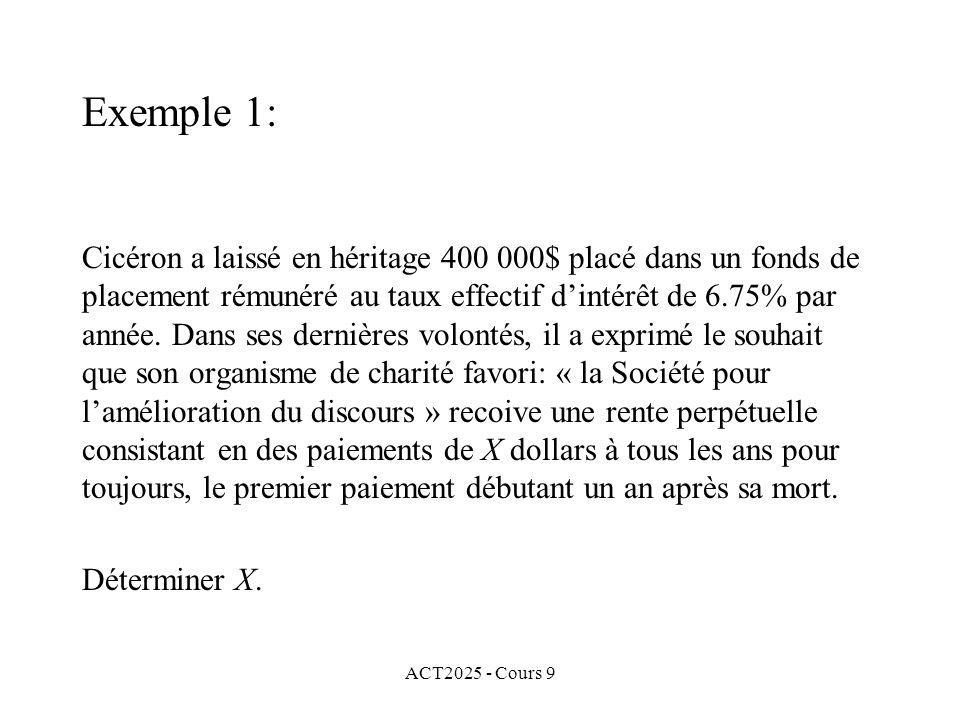ACT2025 - Cours 9 Cicéron a laissé en héritage 400 000$ placé dans un fonds de placement rémunéré au taux effectif dintérêt de 6.75% par année.