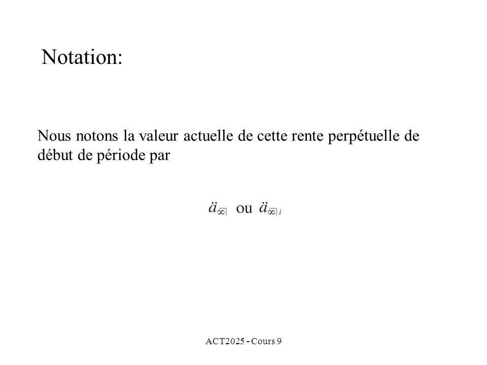 ACT2025 - Cours 9 Nous notons la valeur actuelle de cette rente perpétuelle de début de période par Notation: