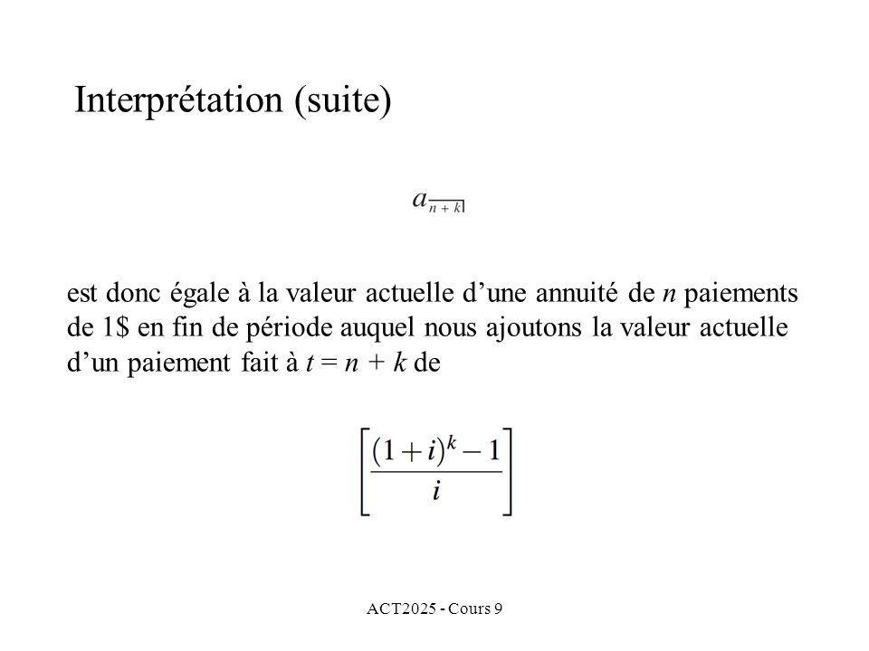 ACT2025 - Cours 9 Interprétation (suite) est donc égale à la valeur actuelle dune annuité de n paiements de 1$ en fin de période auquel nous ajoutons la valeur actuelle dun paiement fait à t = n + k de