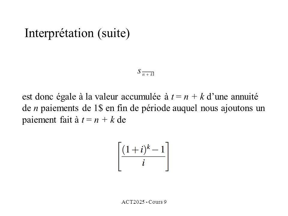 ACT2025 - Cours 9 Interprétation (suite) est donc égale à la valeur accumulée à t = n + k dune annuité de n paiements de 1$ en fin de période auquel nous ajoutons un paiement fait à t = n + k de