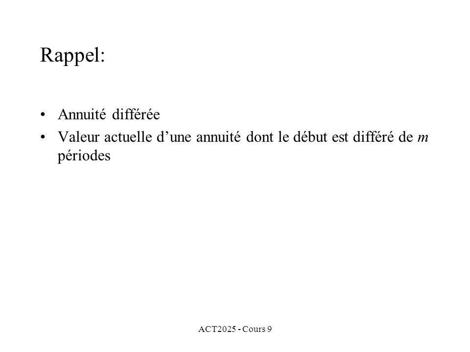 ACT2025 - Cours 9 Rappel: Annuité différée Valeur actuelle dune annuité dont le début est différé de m périodes