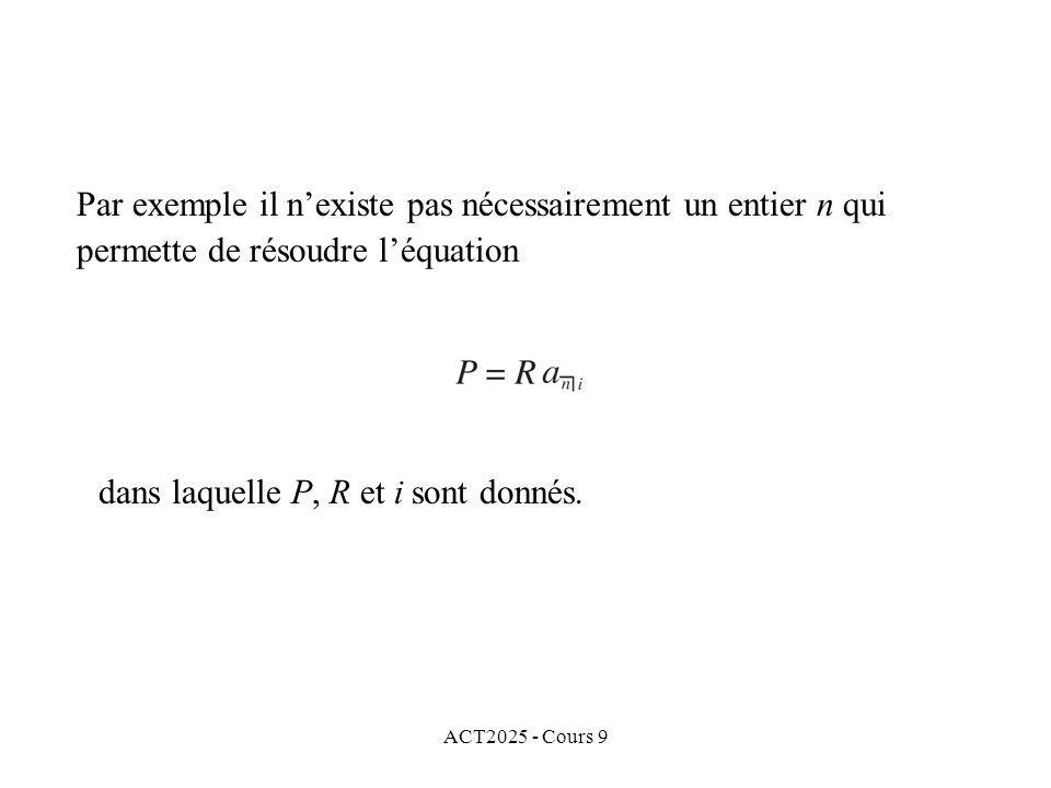 ACT2025 - Cours 9 Par exemple il nexiste pas nécessairement un entier n qui permette de résoudre léquation dans laquelle P, R et i sont donnés.