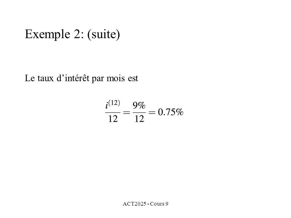 ACT2025 - Cours 9 Le taux dintérêt par mois est Exemple 2: (suite)