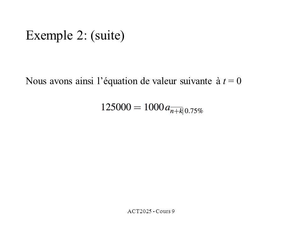 ACT2025 - Cours 9 Nous avons ainsi léquation de valeur suivante à t = 0 Exemple 2: (suite)