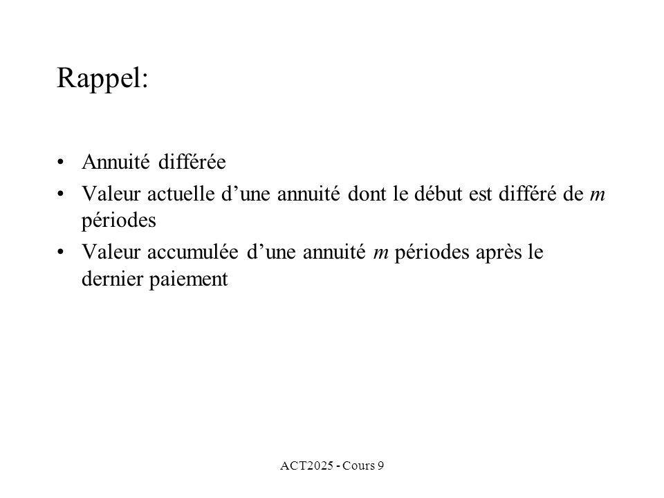 ACT2025 - Cours 9 Rappel: Annuité différée Valeur actuelle dune annuité dont le début est différé de m périodes Valeur accumulée dune annuité m périodes après le dernier paiement