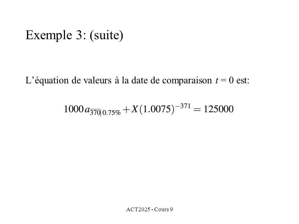 ACT2025 - Cours 9 Léquation de valeurs à la date de comparaison t = 0 est: Exemple 3: (suite)