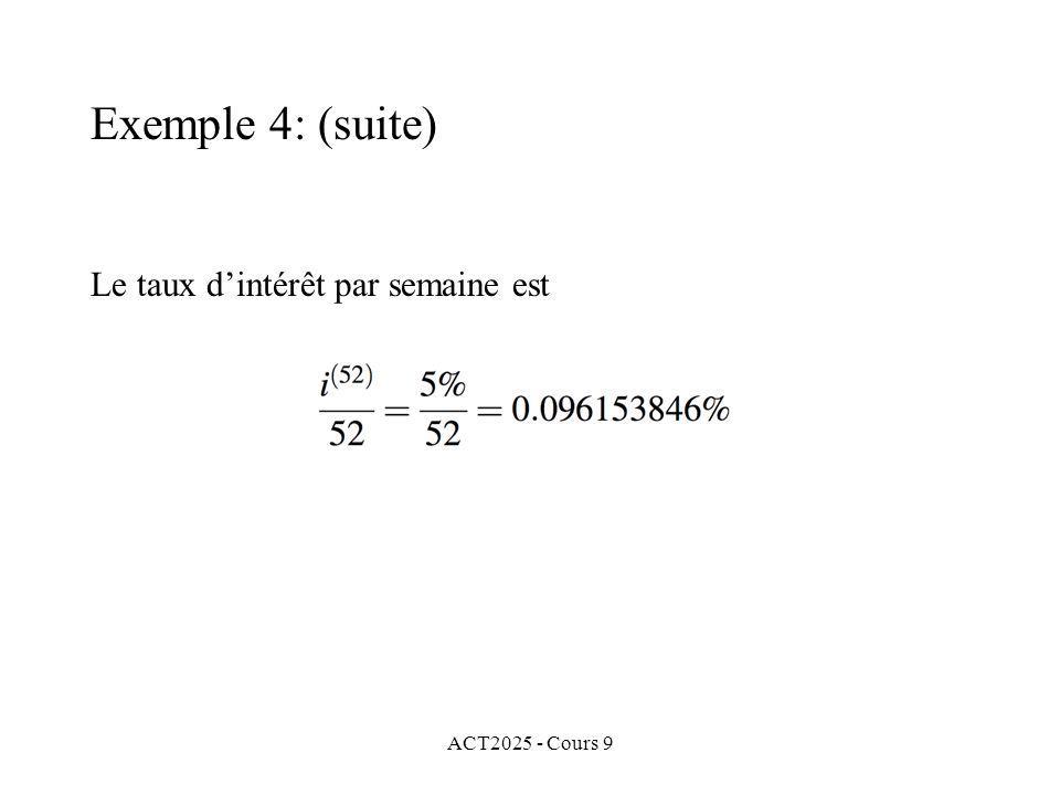 ACT2025 - Cours 9 Le taux dintérêt par semaine est Exemple 4: (suite)