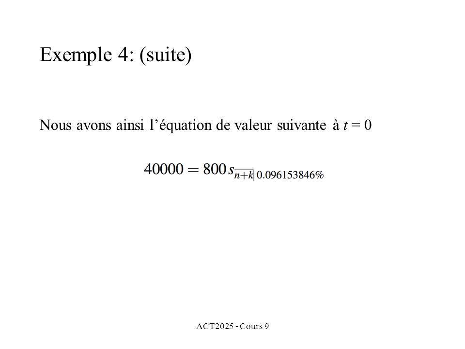 ACT2025 - Cours 9 Nous avons ainsi léquation de valeur suivante à t = 0 Exemple 4: (suite)