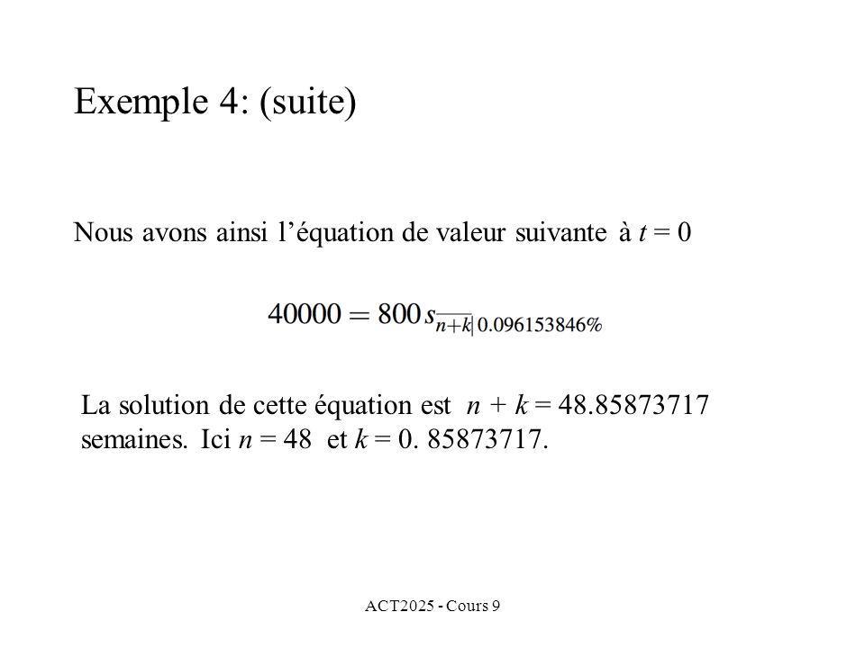ACT2025 - Cours 9 Nous avons ainsi léquation de valeur suivante à t = 0 Exemple 4: (suite) La solution de cette équation est n + k = 48.85873717 semaines.