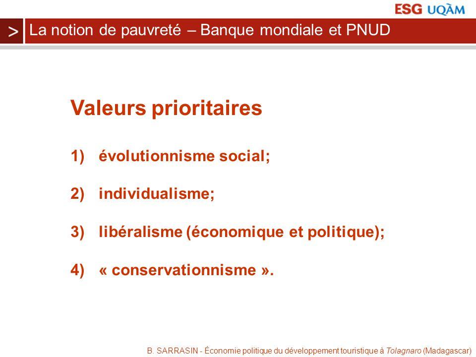 B. SARRASIN - Économie politique du développement touristique à Tolagnaro (Madagascar) Valeurs prioritaires 1) évolutionnisme social; 2) individualism