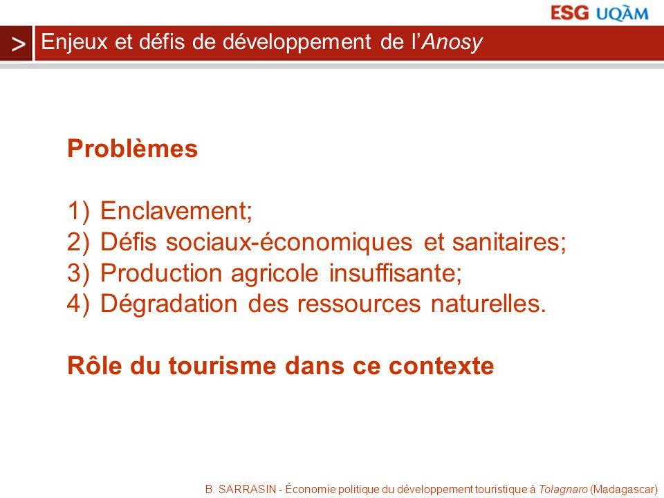 B. SARRASIN - Économie politique du développement touristique à Tolagnaro (Madagascar) Problèmes 1)Enclavement; 2)Défis sociaux-économiques et sanitai