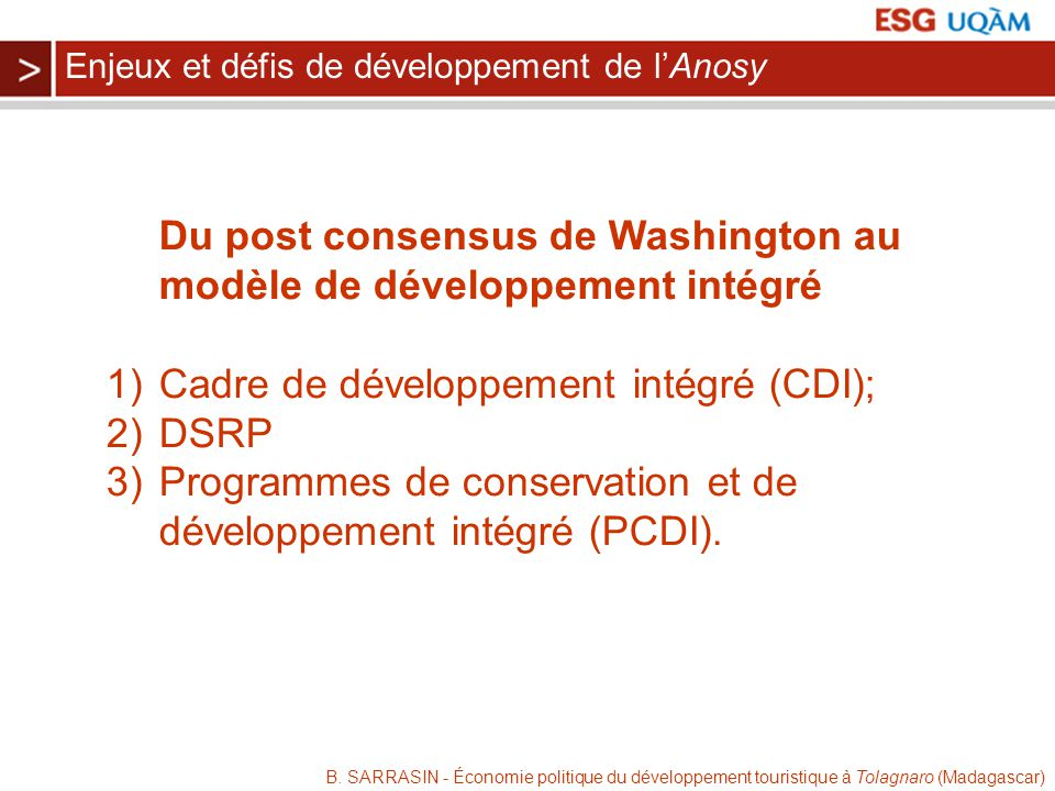 B. SARRASIN - Économie politique du développement touristique à Tolagnaro (Madagascar) Du post consensus de Washington au modèle de développement inté