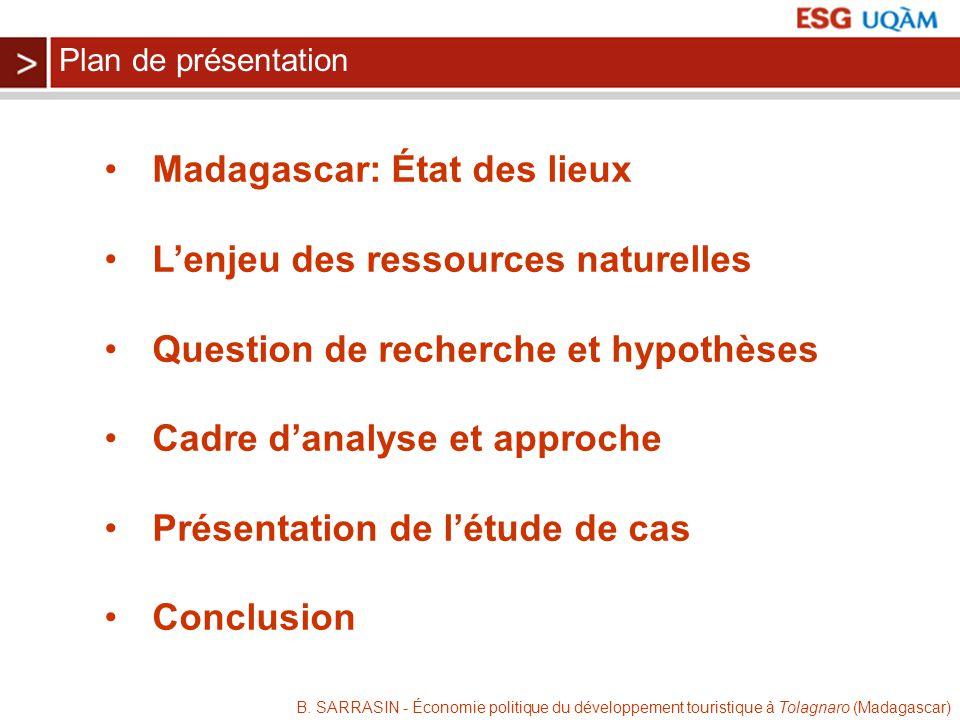 B. SARRASIN - Économie politique du développement touristique à Tolagnaro (Madagascar) Madagascar: État des lieux Lenjeu des ressources naturelles Que