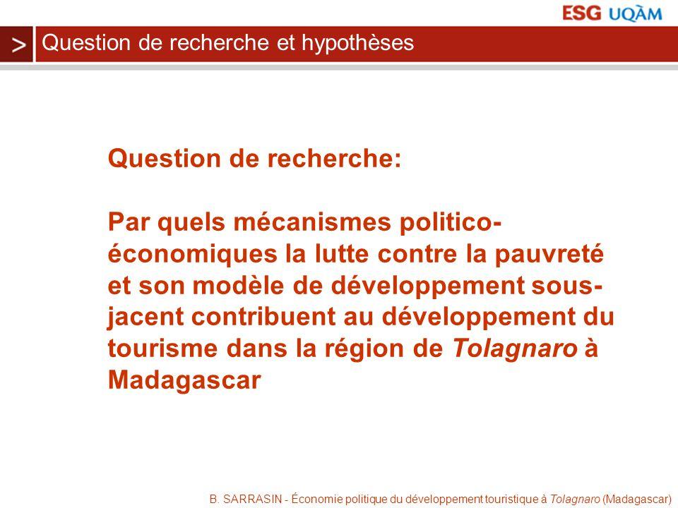 B. SARRASIN - Économie politique du développement touristique à Tolagnaro (Madagascar) Question de recherche: Par quels mécanismes politico- économiqu